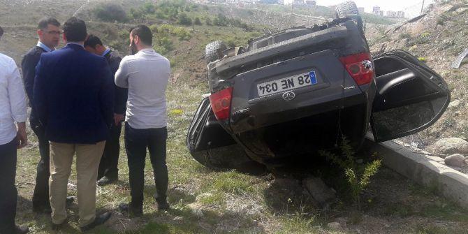 Virajı Alamayan Otomobil Yoldan Çıkarak Takla Attı: 4 Yaralı
