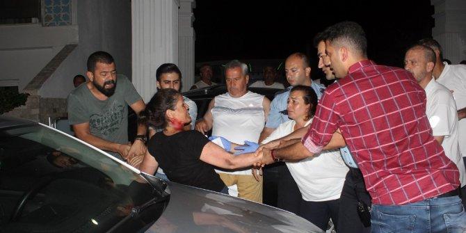 Kadın işçinin 5 yıldızlı otel önünde kanlı eylemi