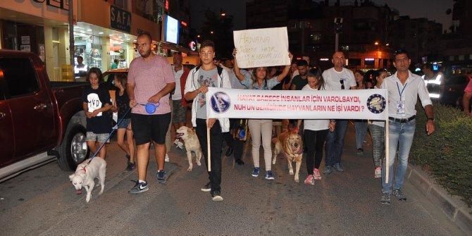 Hayvanseverler tekme atılan köpek için yürüdü