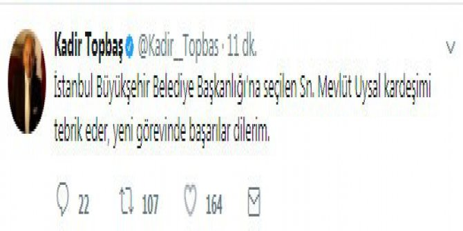 Topbaş'tan Başkan Uysal'a tebrik