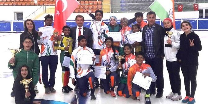 Türkiye- Hindistan Kısa Kulvar Sürat Pateni Milli Takımları Arasında Dostluk Yarışları Yapıldı