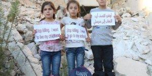 Halepli çocuklardan İHA muhabiri aracılığıyla dünyaya çağrı