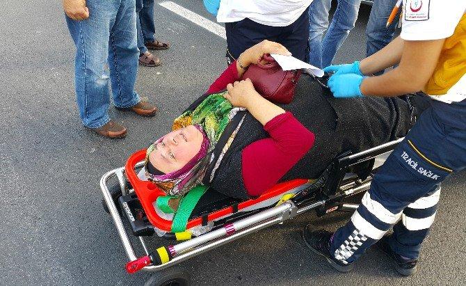 Taksinin Çarptığı Kadın Yaralandı