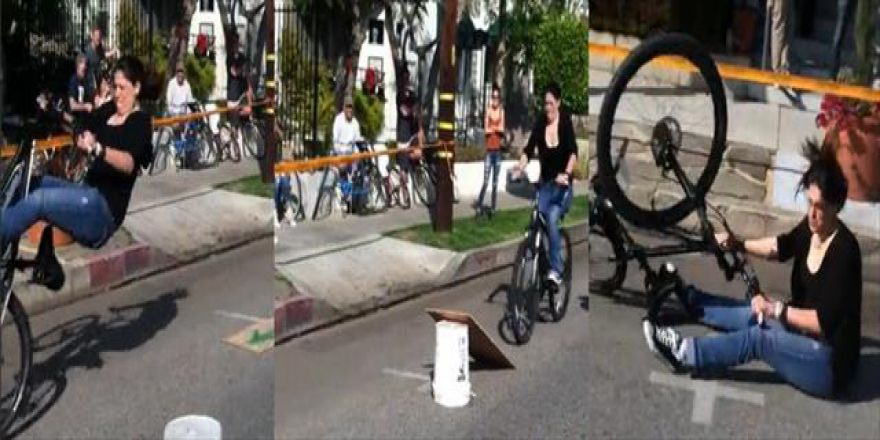 Bisikletli şov yerde son buldu